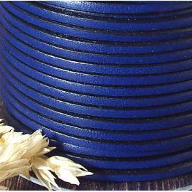 Cuir plat 3mm bleu vif