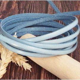 Cuir plat 5mm bleu jean delave