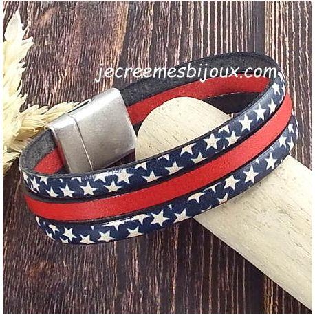 Kit bracelet cuir bleu blanc rouge etoiles