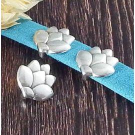 Passant cuir fleur de lotus 2 argent pour cuir 10mm