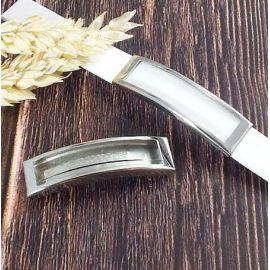 Passant rectangle evide acier inoxydable pour cuir 10mm