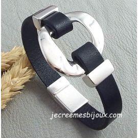 Kit bracelet cuir noir stylise anneau excentre argent