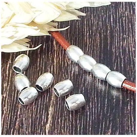 10 perles rondes laiton argent haute qualite pour cuir 2mm