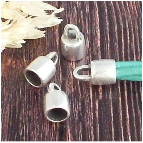 2 embouts lisses argent pour cuir 6mm