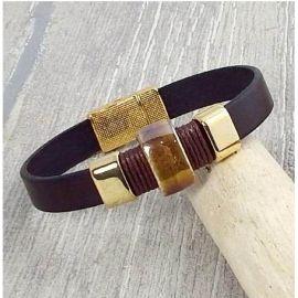 Kit bracelet cuir homme marron perles or et ceramique