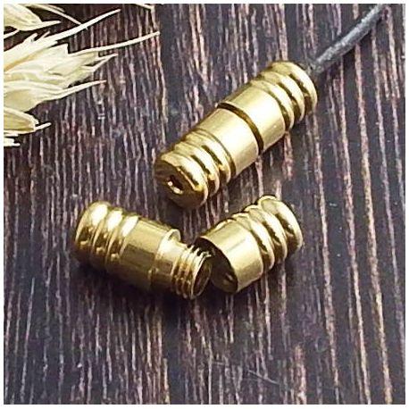 Fermoir a vis acier inoxydable or pour cordon 2mm