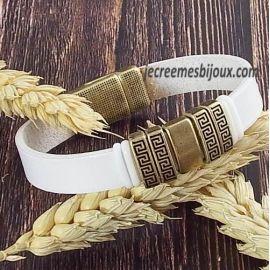 Kit bracelet cuir blanc et bronze ethnique et fermoir azteque bronze