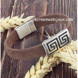 Kit bracelet cuir DAIM marron ethnique argent