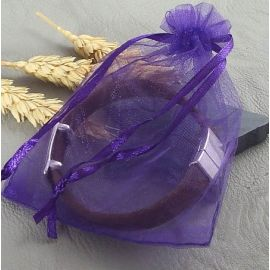 5 pochettes organza violet 110x90mm