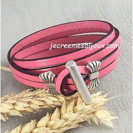 Kit bracelet cuir rose double fermoir argent toogle octobre rose