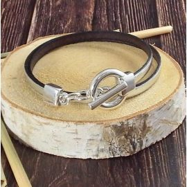 Kit bracelet cuir argent brillant fermoir toogle extra