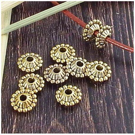 10 perles rondes bronze pour cuir 3mm