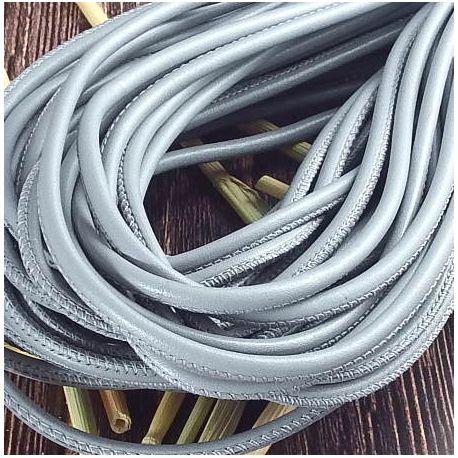 Cordon cuir rond couture haute qualité gris 4mm par 20cm