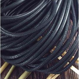 Cordon cuir rond couture haute qualité noir 4mm par 20cm