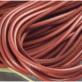 Cordon cuir rond couture haute qualité brique 4mm par 20cm