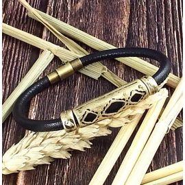 Kit tutoriel bracelet cuir couture italien noir unisexe ethnique zamak bronze