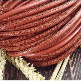 Cordon cuir rond couture haute qualité brique 5mm par 20cm
