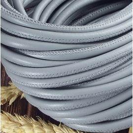 Cordon cuir rond couture haute qualité gris 5mm par 20cm