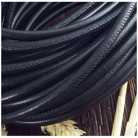 Cordon cuir rond couture haute qualité noir 5mm par 20cm