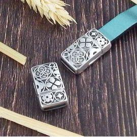 Fermoir plat magnetique coeurs plaque argent pour cuir 10mm