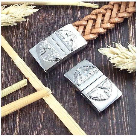 Fermoir magnetique ange acier inoxydable pour cuir 15mm