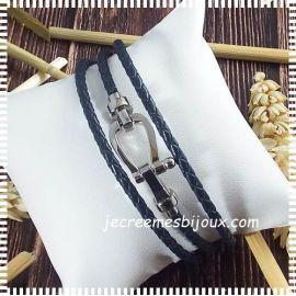 Kit bracelet cuir tresse rouge fermoir marine 3 tours fermoir boucle acier inoxydable