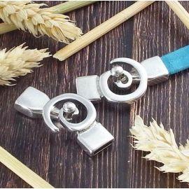 Fermoir spirale design plaque argent pour cuir plat 10mm