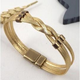 tutoriel bracelet cuir tresse or avec perles bronze