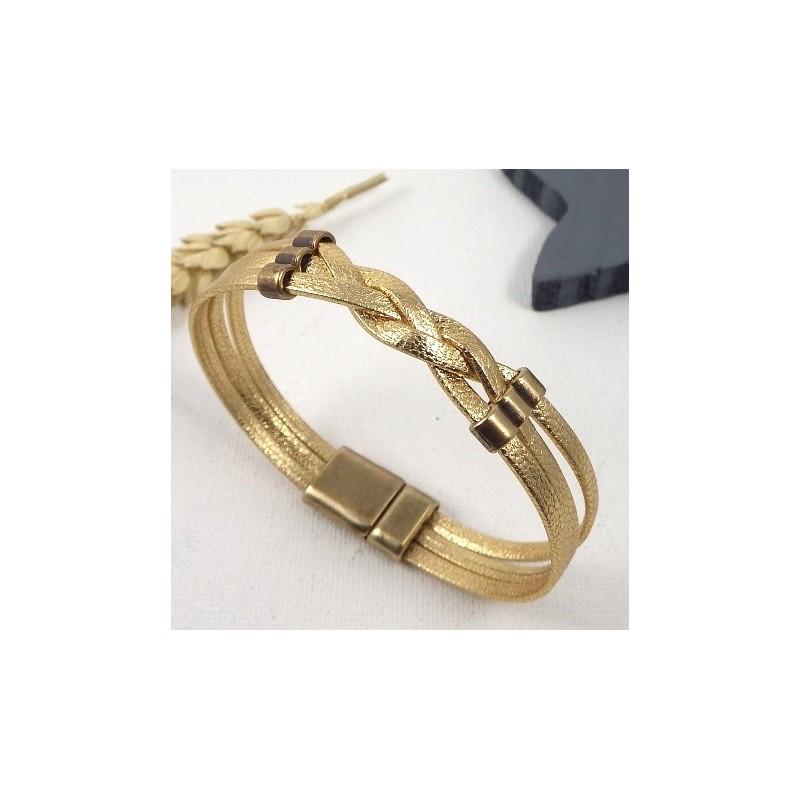 tutoriel bracelet cuir tresse dore. Black Bedroom Furniture Sets. Home Design Ideas