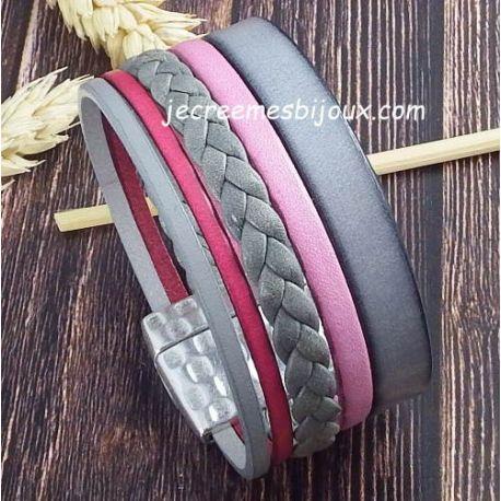 Kit bracelet cuir manchette gris et rose fermoir martele argent avec tutoriel