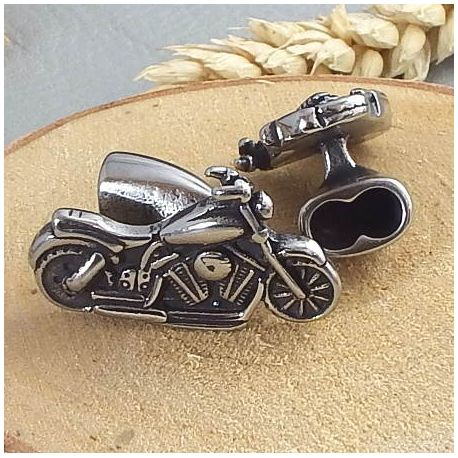 Fermoir Moto crochet acier inoxydable pour cuir 5mm