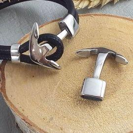 Fermoir crochet Ancre lisse acier inoxydable pour cuir 4mm