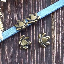 2 passants lotus zamak bronze cuir plat 5mm