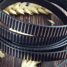 Cuir plat 10mm noir raye argent 10mm par 20cm