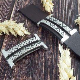 Grand passe cuir ethnique boho argent pour cuir plat 20mm