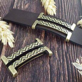 Grand passe cuir ethnique boho bronze pour cuir plat 20mm