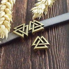Passe cuir geometrique boho triangles bronze pour cuir plat 10mm