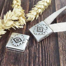 Fermoir magnetique style azteque haute qualite argent pour cuir plat int 20mm
