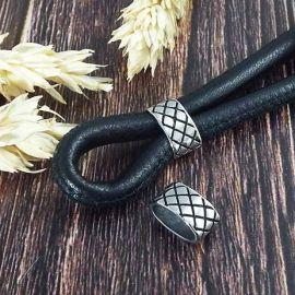 Passant damier acier inoxydable pour cuir 10x5mm