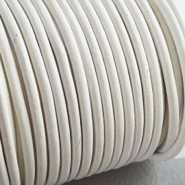 Cordon cuir rond 3mm blanc