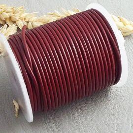Cordon cuir rond bordeaux 2mm