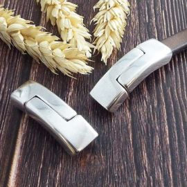 Fermoir magnetique tres securisé plaque argent pour cuir demi épais