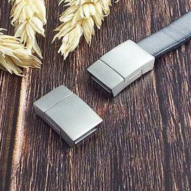 Fermoir magnetique acier inoxydable pour cuir plat 10mm