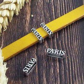 2 passants fins Paris plaque argent pour cuir plat 10mm
