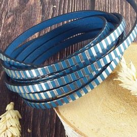 Cuir plat 5mm turquoise raye argent par 20cm