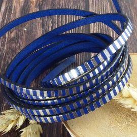 Cuir plat 5mm bleu vif raye argent par 20cm