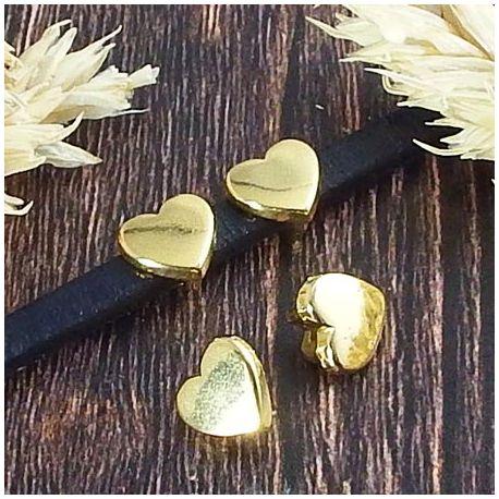 2 passe cuir coeur or pour cuir plat 5mm