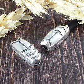 Fermoir magnetique fleche argent pour cuir 5mm