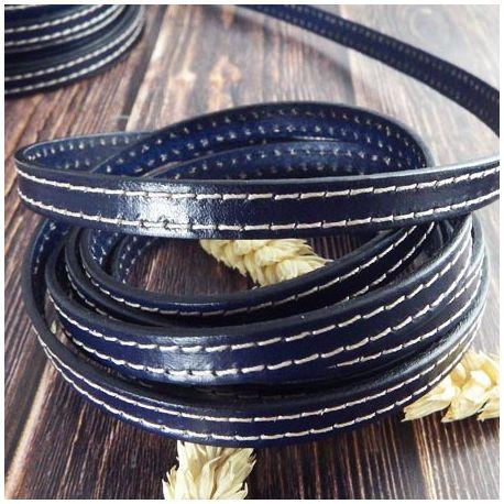 Cuir plat couture bleu marine par 20cm
