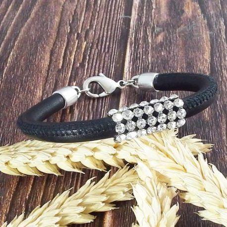 Kit tutoriel bracelet cuir couture italien noir avec strass et argent ajustable